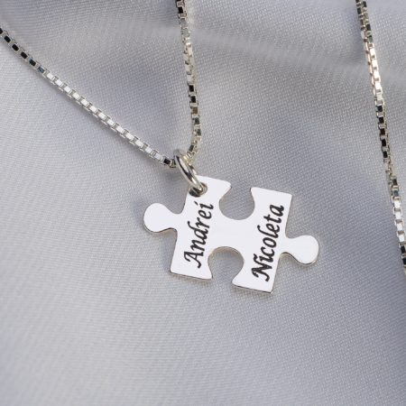 "Lantisor patrat ""Puzzle"" din argint 925 personalizat - Armilla Sliver - Unește cupluri"