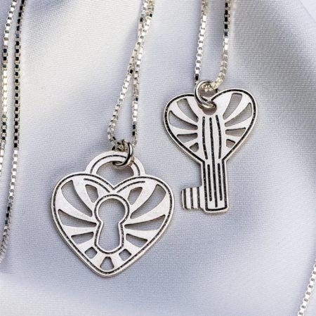 """Set lantisoare """" Heart Key"""" din argint 925 - Armilla Sliver - Unește cupluri"""