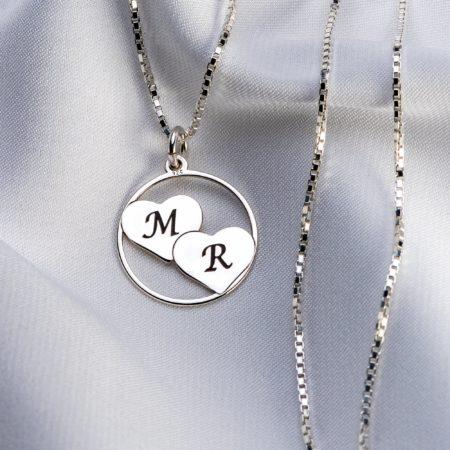 "Lantisor patrat ""Double Heart"" dinargint 925 personalizat - Armilla Sliver - Unește cupluri"