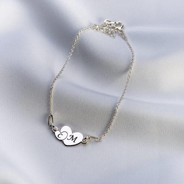 "Bratara ""Lady Double Heart"" din argint personalizata - Armilla Sliver - Unește cupluri"