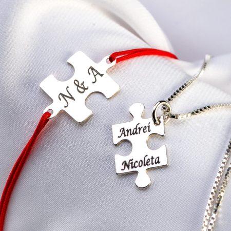 "Set bratara si lantisor ""Puzzle"" din argint personalizat - Armilla Sliver - Unește cupluri"