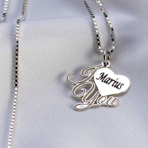 "Lantisor patrat din argint ""I love You"" personalizat - Armilla Sliver - Unește cupluri"