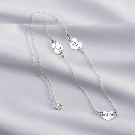 Lantisor din argint 3 inimi personalizat - Armilla Sliver - Unește cupluri