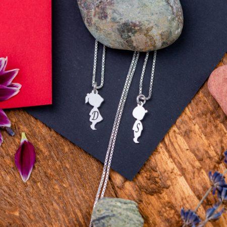 Set Lantisoare Fetita si Baietel Personalizate din Argint 925 - Armilla Sliver - Unește cupluri
