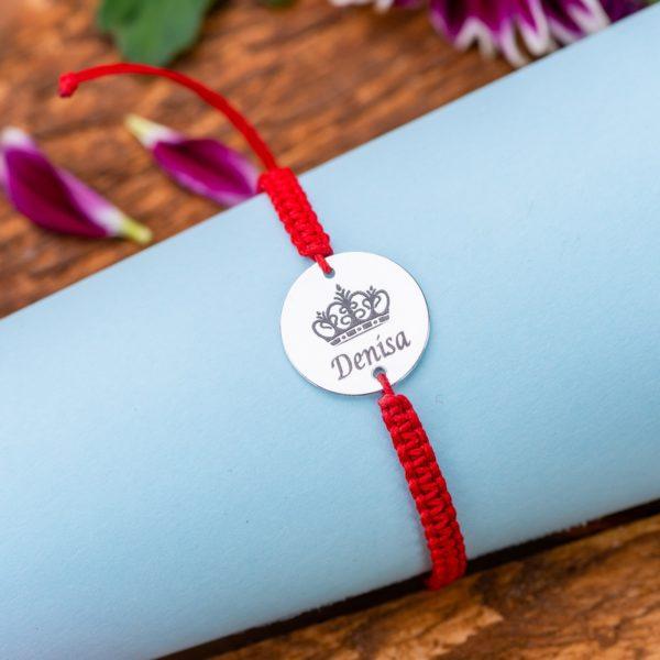 "Bratara ""Baby Queen Impletita Manual"" Personalizata din Argint 16 mm - Armilla Sliver - Unește cupluri"