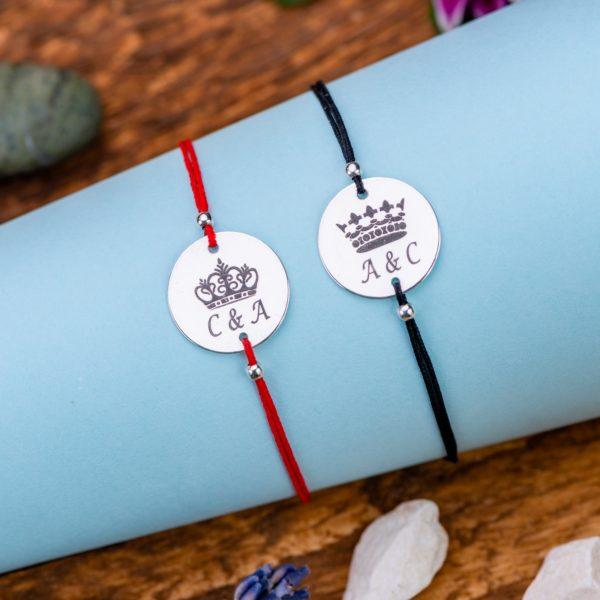 """Set Bratari """"King & Queen Initiale"""" Personalizate din Argint 16 mm - Armilla Sliver - Unește cupluri"""