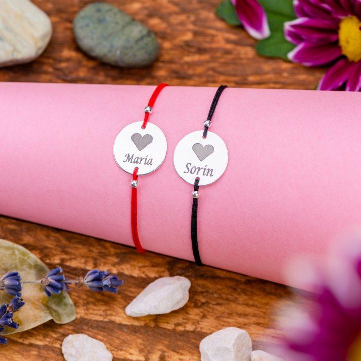"Set Bratari ""Heart"" Personalizate din Argint 16 mm - Armilla Sliver - Unește cupluri"