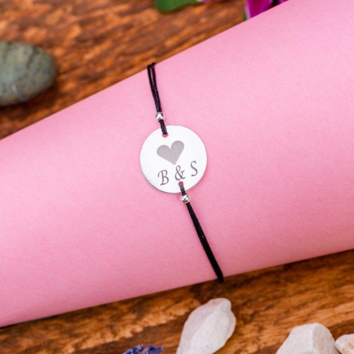 """Bratara """"Heart initiale"""" Personalizata din Argint 16 mm - Armilla Sliver - Unește cupluri"""