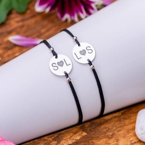 """Set Bratari """"Initiale Heart"""" Personalizate din Argint 12 mm - Armilla Sliver - Unește cupluri"""