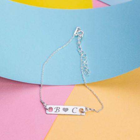 """Bratara """"Lady long Initiale"""" Personalizata din Argint - Armilla Sliver - Unește cupluri"""