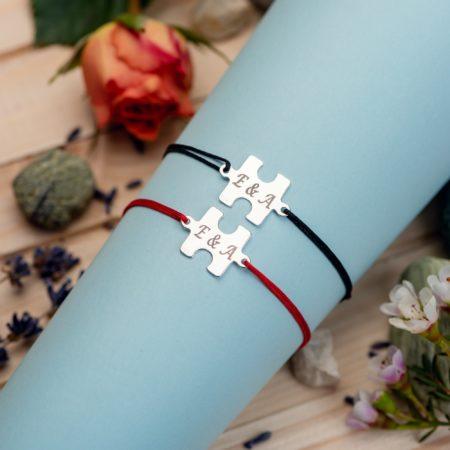 """Set Bratari """"Puzzle"""" Personalizate din Argint 925 - Armilla Sliver - Unește cupluri"""