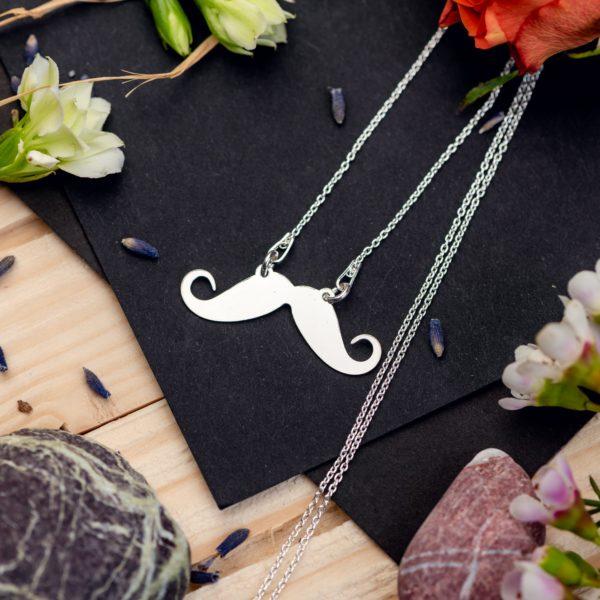 """Lantisor """"Mustache"""" din Argint 925 - Armilla Sliver - Unește cupluri"""