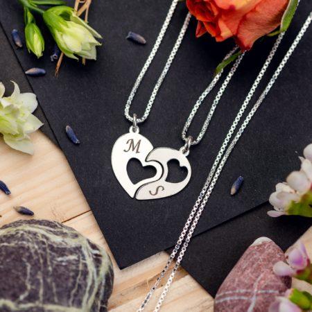 """Set Lantisoare """"2 Hearts"""" Personalizate din Argint 925 - Armilla Sliver - Unește cupluri"""