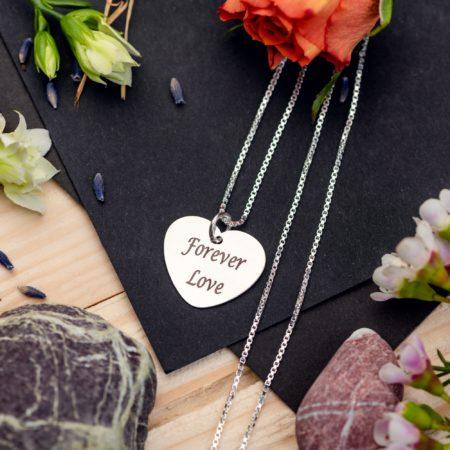 "Lantisor patrat ""Charm inima"" Personalizat din Argint - Armilla Sliver - Unește cupluri"