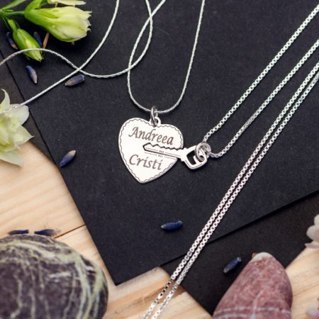 "Set Lantisoare ""Heart and Key"" Personalizate din Argint Lady and Man - Armilla Sliver - Unește cupluri"