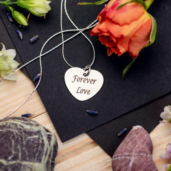 "Lantisor rotund ""Charm inima"" Personalizat din Argint - Armilla Sliver - Unește cupluri"