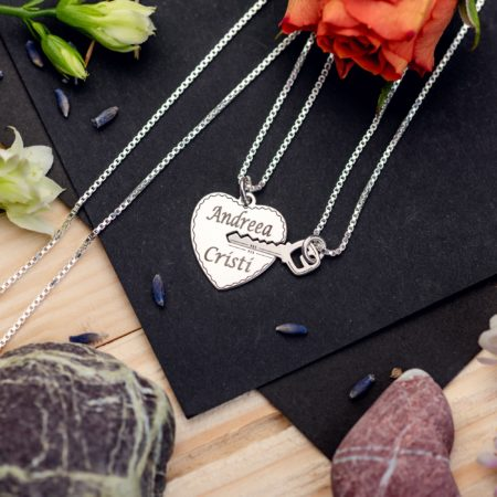 """Set Lantisoare """"Heart and Key"""" Personalizate din Argint 925 - Armilla Sliver - Unește cupluri"""