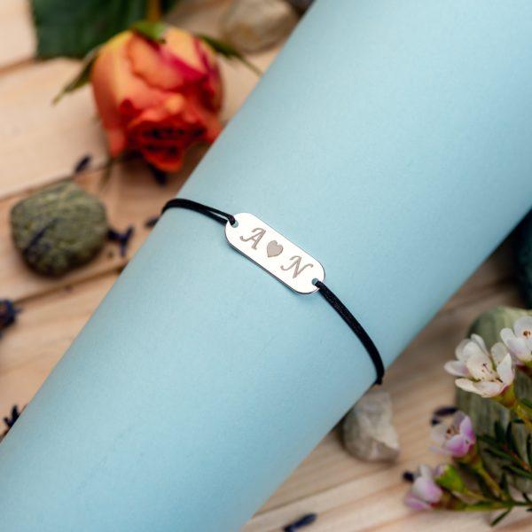 "Bratara ""Long Oval Initiale "" Personalizata din Argint 925 - Armilla Sliver - Unește cupluri"