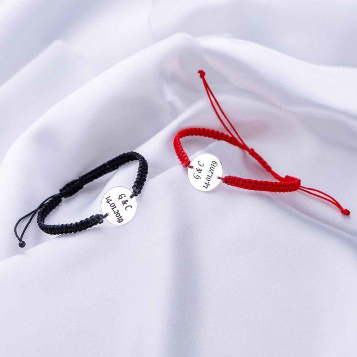 Set Bratari Personalizate Impletite pentru Cupluri cu Banut din Argint 16 mm gravate laser
